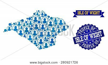 People Collage Of Blue Population Map Of Isle Of Wight And Scratched Seal. Vector Watermark With Scr