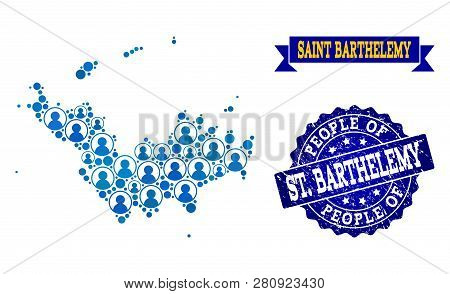 People Combination Of Blue Population Map Of Saint Barthelemy And Rubber Seal Stamp. Vector Seal Wit
