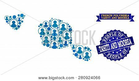 People Combination Of Blue Population Map Of Tahiti And Moorea Islands And Rubber Seal Stamp. Vector
