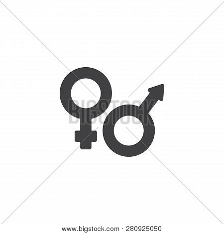 Male And Female Gender Vector Icon. Filled Flat Sign For Mobile Concept And Web Design. Man And Woma
