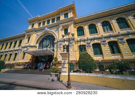 Ho Chi Minh City, Vietnam - 01, 2018: Stock Photo Of Saigon Central Post Office Designed By Gustave