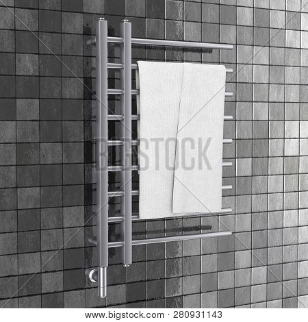 Bathroom Towel Heater Warmer Rail With Towel In Front Of Gray Tiles Wall. 3d Rendering