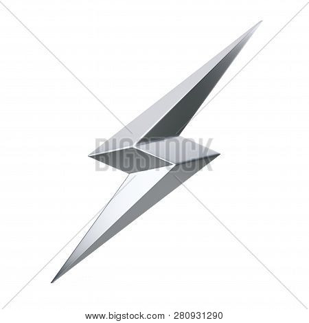 Silver Thunderbolt Lighting Icon On A White Background. 3d Rendering