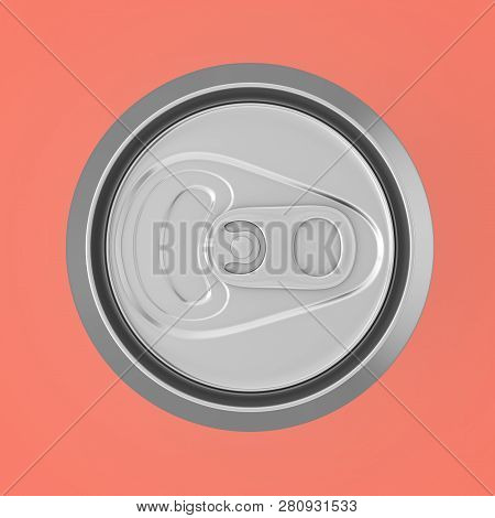 Blank Aluminum Soft Drink, Coda, Beer Can Top View On A Pink Background. 3d Rendering