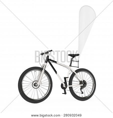 Mountain Bicycle With Blank Banner Promotion Feather Flag On A White Background. 3d Rendering