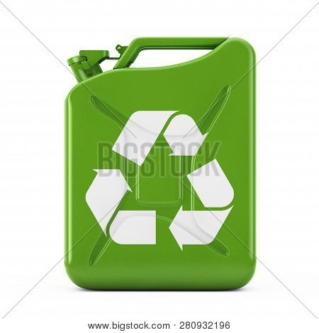Eco Fuel Concept. Green Metal Jerrycan With Recycle Sign On A White Background. 3d Rendering