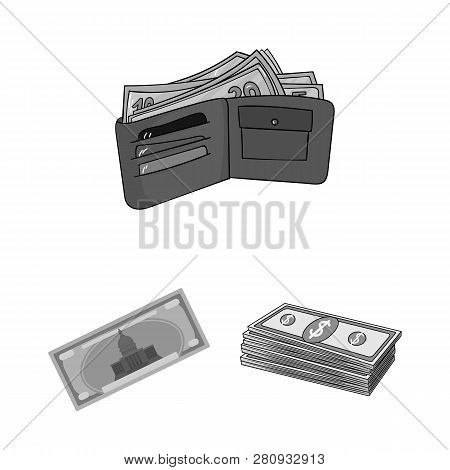 Vector Design Of Cash And Currency Symbol. Set Of Cash And Stack Stock Vector Illustration.