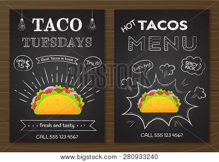 Traditional Mexican Fastfood Tacos Menu. Chalk Board Style Food Poster With Hand Drawn Decoration On