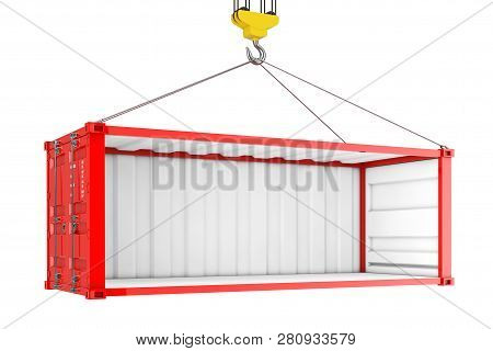 Empty Red Shipping Container With Removed Side Wall During Transportation With Crane Hook On A White