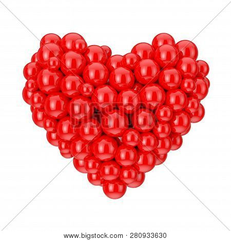 Many Red Spheres In Shape Of Love Heart Symbol On A White Background. 3d Rendering
