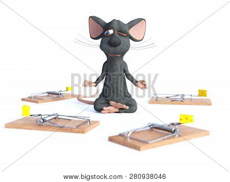 3d Rendering Of A Cartoon Mouse Doing Yoga, Sitting In A Lotus Pose With Hands In A Chin Mudra Pose