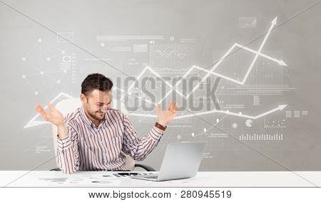 Business person sitting at desk with financial change, and report making concept