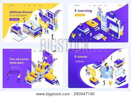 Set Isometric Concept Template Design E-education Or Tradition Education, Students Around The World