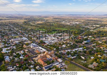 Aerial View Of Cowra Located In Central Nsw Surrounded By Rural Land This Town Is An Important Seriv