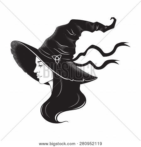 Beautiful Brunette Witch In Pointy Hat Line Art And Dot Work. Boho Chic Tattoo, Poster, Tapestry Or