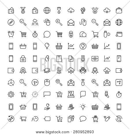 Seo Marketing Flat Icon Set. Single High Quality Outline Symbol Of Info For Web Design Or Mobile App