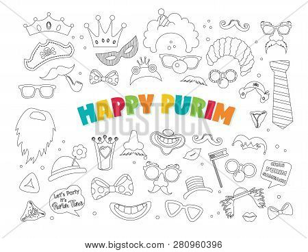 Purim Clipart With Carnival Elements. Happy Purim Jewish Festival, Carnival, Purim Props Icons. Vect