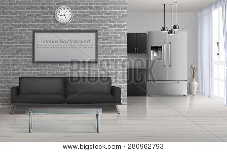 Home Living Room, Studio Kitchen Spacious Interior In Minimalism Or Loft Style Design 3d Realistic V