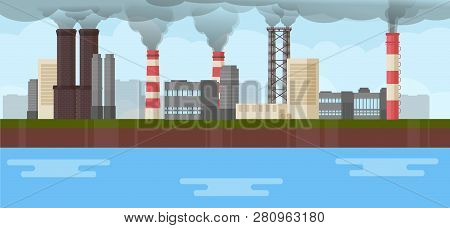 Air Industrial Pollution Environmental Issues Smoke Chimney Industry Vector Illustration. Global Pip