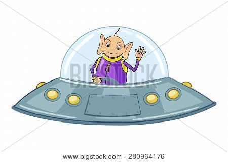Funny Alien On A Flying Saucer. Vector Illustration. Isolated On White Background