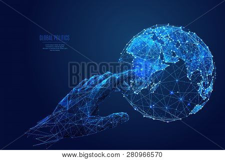 Human Arm Or Hand Or Palm Is Touching Planet Earth. Digital Image Of Globe. Low Poly Blue. Polygonal
