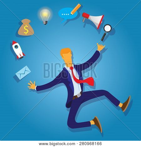 Multi Skill Concept. Businessman Juggling Business Icons And Skills. Concept Business Vector Illustr