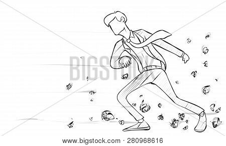 Doodle Vector Illustration, Determined Businessman Walks Against Strong Wind. Business Challege Conc