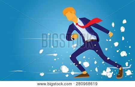 Vector Illustration, Determined Businessman Walks Against Strong Wind. Business Challege Concept