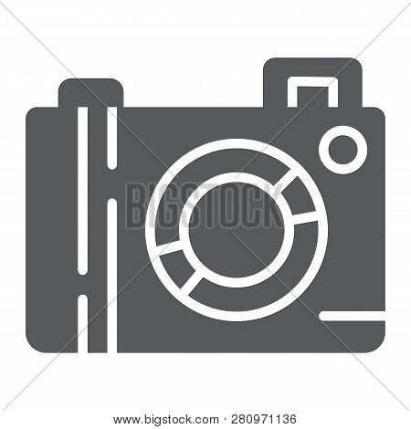 Camera Glyph Icon, Lens And Photo, Photocamera Sign, Vector Graphics, A Solid Pattern On A White Bac