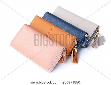 Closeup Modern Woman Wallet Fashion On White Background