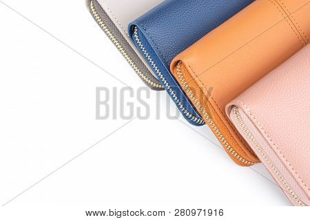 Closeup Modern  Woman Wallet Fashion On White Background With Copy Space