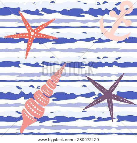 Marine Striped Seamless Pattern With Seashells, Starfish And Anchors. Vector Eps 10