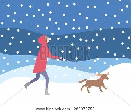 Woman Walking Dog On Leash In Snowfall, Wintertime Activities Vector. Lady Wearing Warming Clothes,