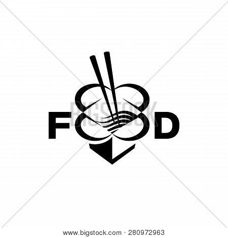 Chinese Food Box With Chopsticks And Noodles. Abstract Food Box Logo For Restaurant Or Food Delivery