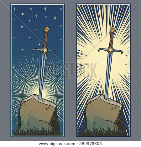 Excalibur Sword Trapped In Stone. Decorative Banner. Iconic Scene From The Medieval European Stories