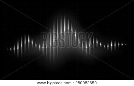 Sound Wave. Abstract Music Pulse Background. Audio Voice Rhythm Radi Wave, Frequency Spectrum Vector