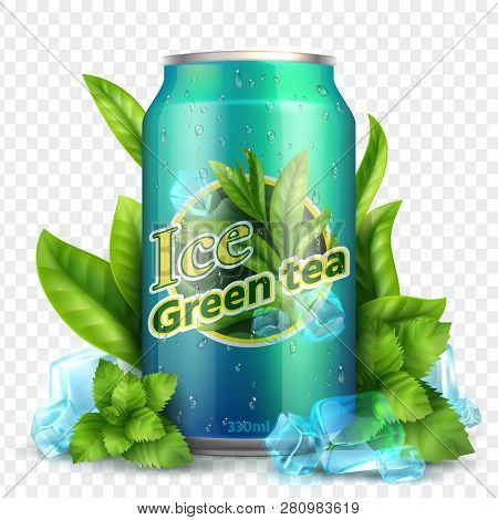Ice Tea Background. Realistic Can With Tea Leaves And Ice. Product Promotion Vector Mockup. Illustra