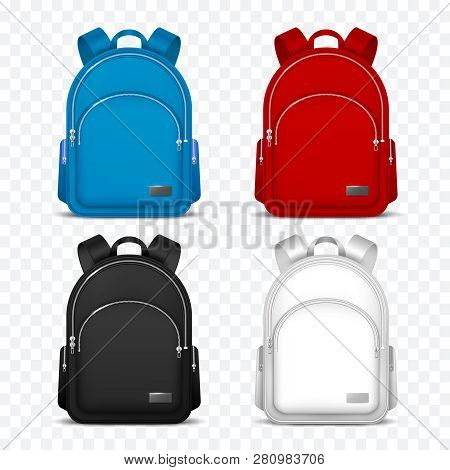 School Rucksack. Kids Backpacks. Front View Travel Bag For Backpacking. 3d Vector Mockup Isolated. R
