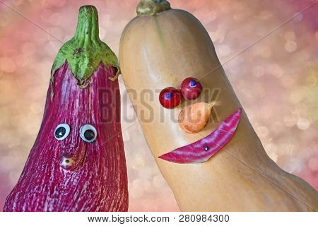 Two Cool Vegetable Dudes With Funny Faces, Aubergine And Butternut Calabash. Healthy Food, Creative