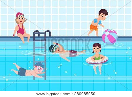 Kids In Swimming Pool. Boys And Girls In Swimwear Play And Swim In Water. Happy Childhood Vector Sum