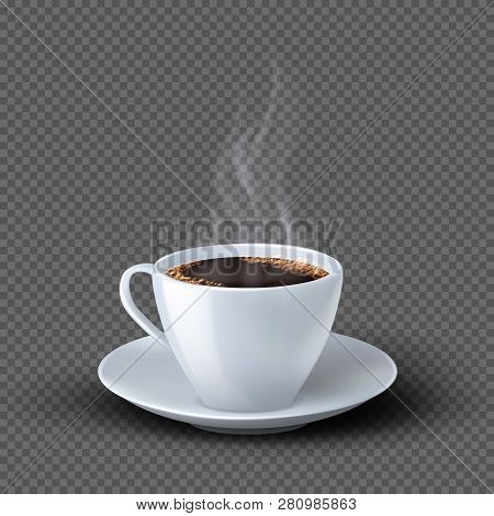 White Realistic Coffee Cup With Smoke Isolated On Transparent Background. Coffee Cup Beverage, Cafe