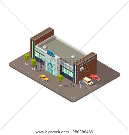 3d Mall Or Shopping Center With People, Taxi And Parking With Cars Vector Illustration. Mall 3d And