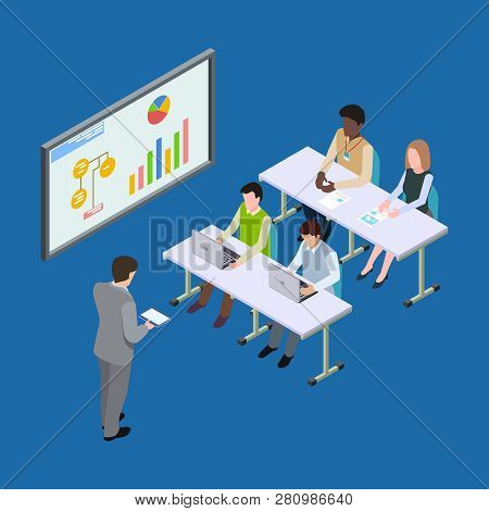 Isometric Presentation At The Economic Forum, Economics Lesson Or Business Conference Vector Concept