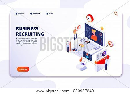 Recruitment Agency Landing Pad. Human Resources Online Recruitment And Hiring 3d Isometric Vector Co