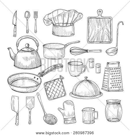 Hand Drawn Cooking Tools. Kitchen Equipment Kitchenware Utensils Vintage Sketch Vector Collection. I
