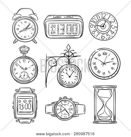 Sketch Clock. Doodle Watch, Alarm And Timer, Sand Clock Hourglass. Hand Drawn Time Vector Vintage Is