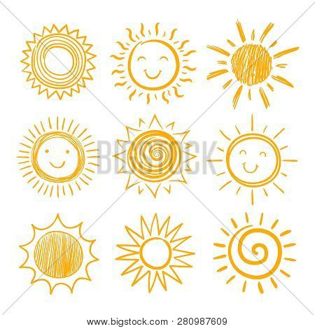 Sketch Sun Icons. Hand Drawn Sunshine. Summer Morning Sunrise. Doodle Vector Warming Symbols Isolate