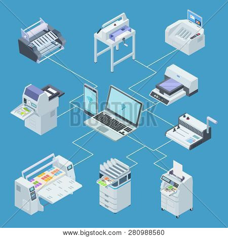 Modern Printing House Equipment. Printer Plotter, Offset Cutting Machines Isometric Vector Concept.