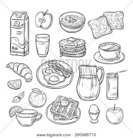 Breakfast Doodle. Sandwich Bread Toast Egg Butter, Morning Coffee And Cheese Sketch Healthy Food Vin