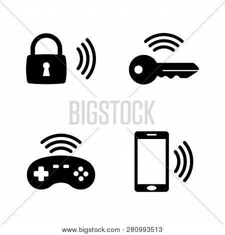 Wireless Gadget, Smart House. Simple Related Vector Icons Set For Video, Mobile Apps, Web Sites, Pri